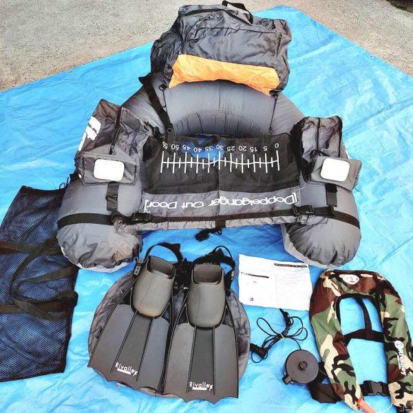 ドッペルギャンガー フィッシングフローター rivalley 膨張式ライフジャケット、フィンセット 1257 P200121J04B